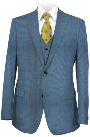 Tiglio Aqua Blue Tailored Fit Vested Suit TS6082-4