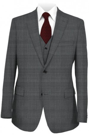 Tiglio Tonal Gray Pattern Tailored Fit Vested Suit TS6096-1