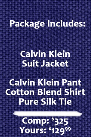 Calvin Klein 2 Button Black Herringbone Suit Separate - Package