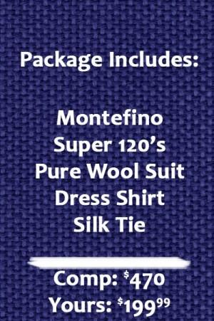 Montefino  Solid Black Pure Wool Suit Package