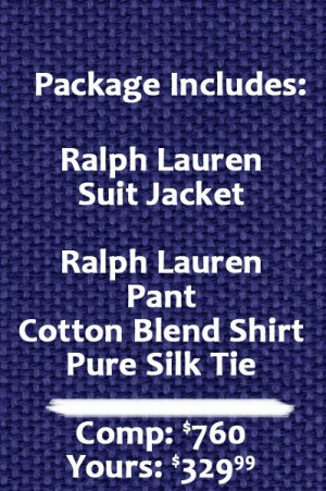 Ralph Lauren Classic Fit Solid Ultraflex Blue Tic Weave Wool Suit Separates - Package 2MX0125