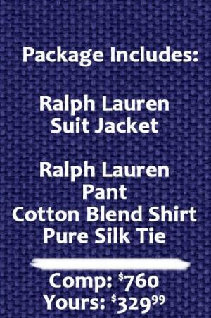 Ralph Lauren Classic Fit Solid Ultraflex Blue Tic Weave Wool Suit Separates - Package 2MX0125