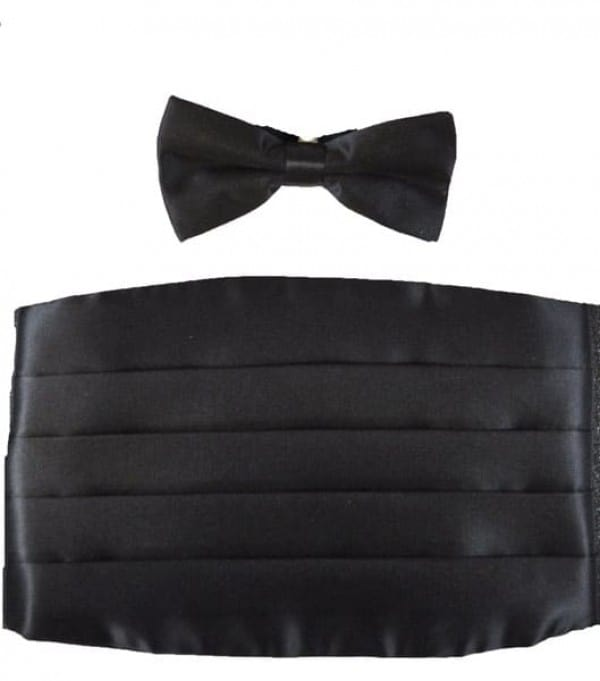 Poly Satin Bowtie & Cummerbund Set