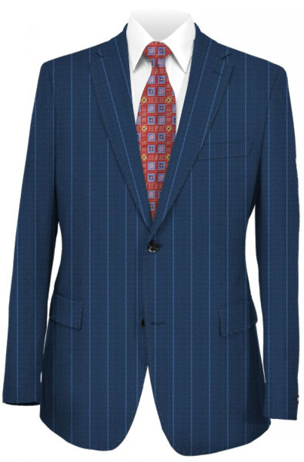 Austin Reed Blue Pinstripe Tailored Fit Suit 2zba0241 Mens Suits