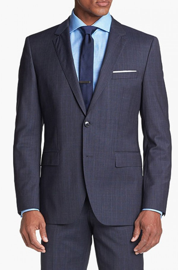 0b3f146a9 Hugo Boss Blue Pattern Tailored Fit Suit #50251384-410 - Mens Suits