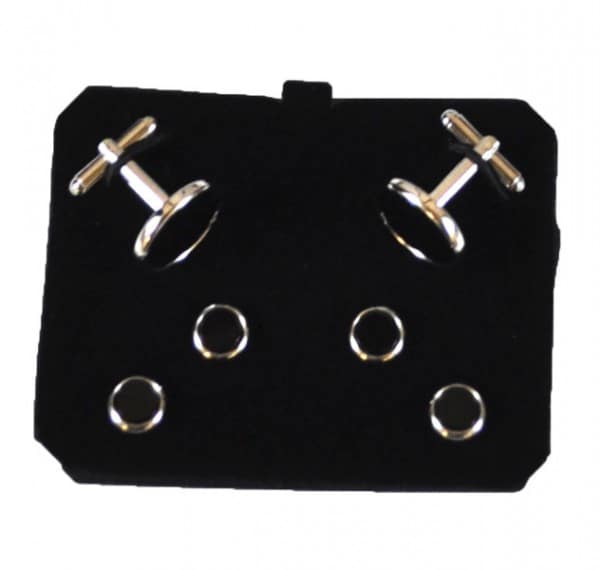Round Black With Silver Trim Stud Set