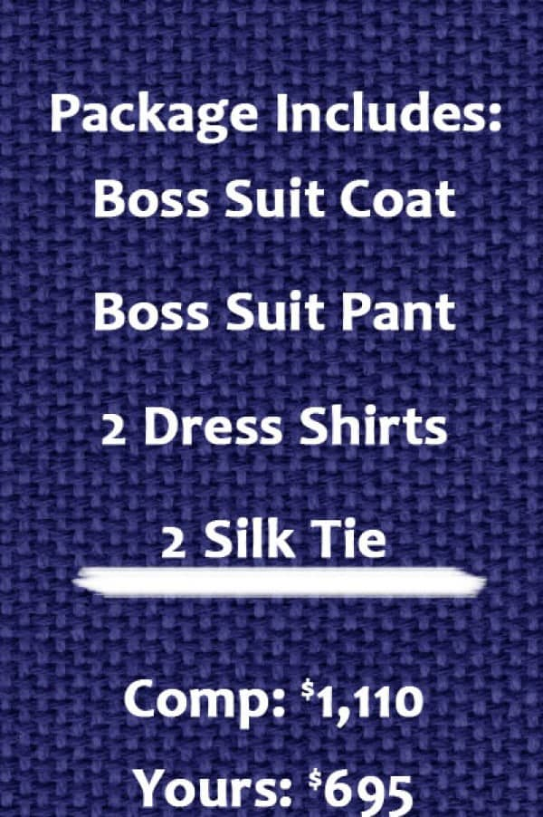 Hugo Boss suit package includes suit, 2 shirts, 2 ties, black belt, 3 pair of socks
