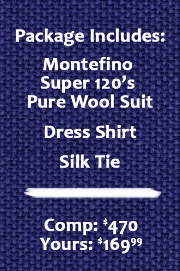 Pure Wool suit package includes suit, shirt, and tie