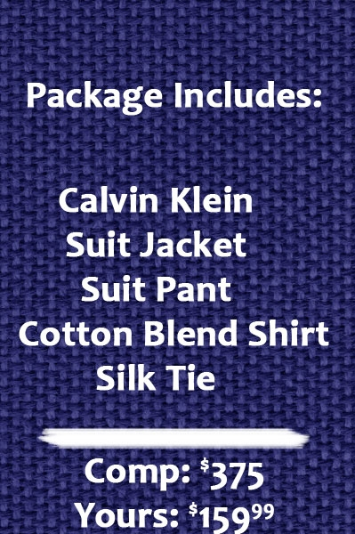 Calvin Klein suit package includes suit, shirt, and tie